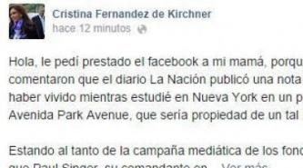 Florencia Kirchner posteó desde el Facebook de su mamá