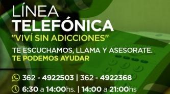 """El municipio puso en marcha la línea telefónica gratuita """"Viví sin adicciones"""""""